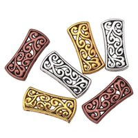 bead jewelry making patterns - Tibetan Silver Rectangle Hollowed Flower Pattern Carved Spacer Beads For DIY Jewelry Making Bracelets
