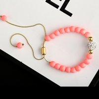 Wholesale New Fashion Shambhala Pink Bead Bracelet For Women Gift AAA Cubic Zirconia Strand Bracelets Jewllery China