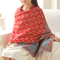 air free national - Large Size cm Air Conditioning Shawl Warm National Style Jacquard Tassel Scarf Shawl Fashion Scarfs