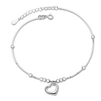 Wholesale birthday present for friend sterling silver heart pendant anklet low prices