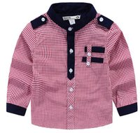 Wholesale Handsome look Mandarin collar boy shirt small checks cotton making white checked shirts contrast color design