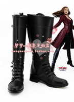 Wholesale Marvel s Captain America Civil War Scarlet Witch Wanda Maximoff Cosplay Boots shoes shoe boot NC946 Halloween Christmas