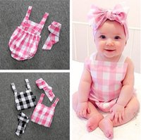 Wholesale Baby Rompers and Headbands Infant Girl Newborn Baby Clothes Plaid Cotton Suspenders Sleeveless Rompers Suits Coverall