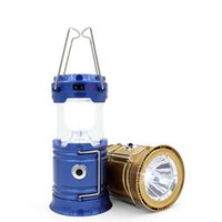 Wholesale Portable Led Flashlight Solar Camping Lantern LEDs Rechargeable Emergency Hand Lamp Tent Light Collapsible For Outdoor Lighting