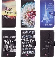 Wholesale Lovely Iphone Wallet Cases - For Galaxy S7 Edge Plus A310 A510 For LG G4 Stylus For Iphone SE 5 5S Never Stop Dreaming Flip Cover Leather Cute Lovely Cartoon Tower Case