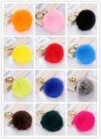 Wholesale keychain cute simulation rabbit fur ball key chain for car key ring car ornaments mix colors