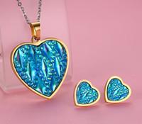 Joyería de los pendientes del acero inoxidable de la manera de resina azul del colgante corazón collar 3pcs que la de las mujeres de alta chapado en oro pulido IP