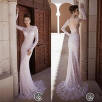 beaute wedding dress - Elegant Lace Mermaid Wedding Dresses Vintage Beaute Long Sleeve Open Back Sweep Train Bridal Gown New