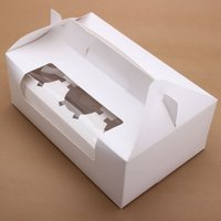 Wholesale Portable White Paper Cupcake Box With Window Holes Cake Muffin Dessert Packing Boxes Decorating Tools Gift Holder Paper Craft