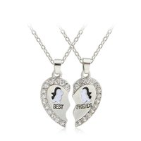 best friend necklaces dolphins - 2 New Design BFF Pendant Necklace Friendship Best Friends Forever Necklaces Penguin Panda Dolphin Anchor