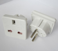 Wholesale UK to EURO EU AC Power Travel Plug Adapter Adapters Converters white