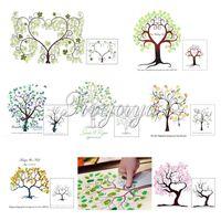 Wholesale Unique Wedding Fingerprint Trees Guest Book x40cm Canvas Thumb Print Wedding Decoration Ceremony Bridal Signature Tree