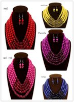 beaded heart earrings - The European and American fashion jewelry suit necklaces earrings two piece foreign trade women s jewelry sell like hot cakes