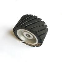 aluminum polishers - 150 mm Grooved Rubber Contact Wheel Belt Sander Polisher Grinder Wheel Sanding Belt Set