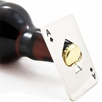 Wholesale Stainless Steel Poker Playing Card Ace of Spades Bar Tool Soda Beer Bottle Cap Openers New Stylish DHL