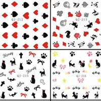 alice pack - Card Cat Design Water Nail Decal Style Alice Adventures Pattern Water Transfer Nail Sticker Sheet Nude Packing