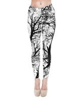 Wholesale Women Leggings Black White Tree D Graphic Print Skinny Stretchy Yoga Trousers New J20768