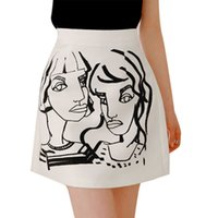 Wholesale Women s Head Prints Abstract Personality Wild Waist Skirts A Word Skirt
