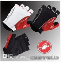 Wholesale 2016 Cast Rosso Corsa Half Finger Cycling Gloves Scorpions Mountain Bike Riding Silicone GEL Gloves Free Ship DropShipping Accepted