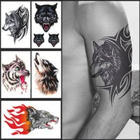 arm pattern - Brand New Mens Large Cool Sexy Wolf Head Waterproof Removable Temporary Tattoos Arm Leg Body Arts Stickers Sheets Patterns Styles