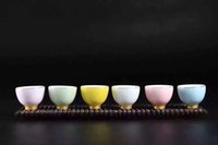 Wholesale high quality tea cup new desigh rainbow color chinese kongfu tea porcelain cups set sample order