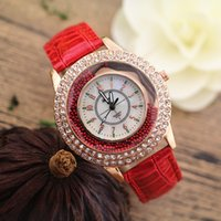 belt buckles selling - Hot selling PVC leather band crystal deco case moving stone under glass Gerryda fashion woman lady quartz watches