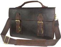 crazy horse leather - New Style Vintage Men s Genuine Leather Business Handbag Briefcases Crazy Horse Messenger Shoulder bag Cowhide Laptop Bag
