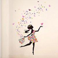 Wholesale Flower Fairy Dance Girl bedroom wall backdrop romantic decorative glass Decorative Stickers SD2
