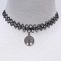 Wholesale Hot Tree of Life Pendant Necklace Stretch Necklace Black High Elastic Fashion Women Pendant Neck Chain QJ