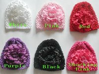 Wholesale 10pcs baby waffle hat crochet hats with inch big Multi storey peony flower clips soft caps stretchy weave Beanie MZ9115