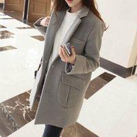 Wholesale 2016 Women Winter Wool Coat Lapel Neck Slim Long Sleeve Korean Coat S XXL Plus Size HHY09