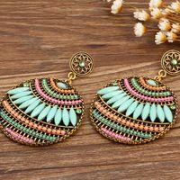 acrylic chandelier beads - European and American earrings for women Bohemian pierced earrings leaves shape colorful beads earrings free shiping