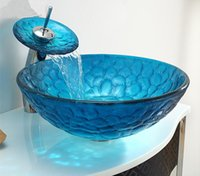 bathroom sink countertop combination - Bathroom vanity series Mediterranean basin blue glass art basin stage Washbasin combination packages Combined sale