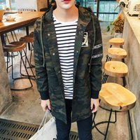 Wholesale New Hooded Camouflage Long Trench Coat Men Military Camo Jacket Autumn Outdoor Printed Army Casual Casaco Masculino Size XL