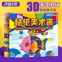 Wholesale Lotus Angel children creative hand rubbed rubbing paper paper painting DIY package adhesive stickers painting toys in kindergarten