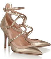Wholesale 2016 Hot Sale New Fashion Pointed High Heeled Sandals with Golden Solid Genuine Leather Ankle Strap Wedding Women Shoe