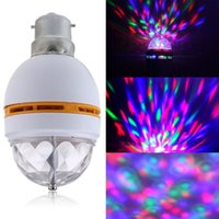 Wholesale Newest B22 W RGB Crystal Ball Rotating LED Stage Light Bulbs Disco light bulb laser decoration order lt no track
