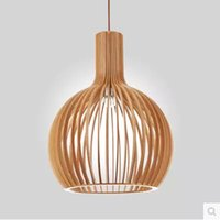 arts crafts lighting fixtures - Art Wood Craft Pendant Lights Hollow Stainless Steel Ball Pendant Lamp E27 Silver Ball Lamp Fixture Lighting Foyer Cafe Decor