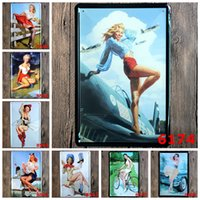 antique bicycle shop - lastest cm sexy blond girl with rural life auto bicycle Tin Sign Coffee Shop Bar Restaurant Wall Art decoration Bar Metal Paintings