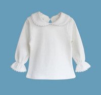 Wholesale retail American new design infant toddler baby girls t shirt long sleeve pure cotton girls clothes undershirt
