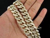 Wholesale Half Kilo Yellow Gold Mens Miami Cuban Link Genuine Diamond Chain Necklace