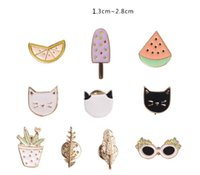 american fruits - Small Cute Lovely Funny Brooches K Gold Plated Enamel Cartoon Brooches for Women Fashion Jewelry Fruit Cat Watermelon Button Collar Pins