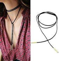 ball choker - New Arrival Fashion Charm Bohemia Around The Neck Strap Sexy Black Leather Tube Balls Pearl Pendant Choker Necklace Jewelry