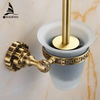 Wholesale and Retail High end Carving Wall Mounted Toilet Cleaning Brush Antique Brass Toilet Brush Holder F