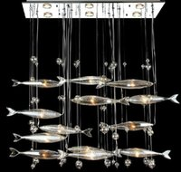 Wholesale Postmodern Modern LED Glass Flying Fish Chandeliers Dining room Bar Pendant Lights Crystal Cognac Color Fishes Ceiling Lamps