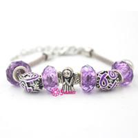 awareness bracelet purple - New Arrival European Bead Pancreatic Cancer Awareness Jewelry Purple Ribbon Bracelet