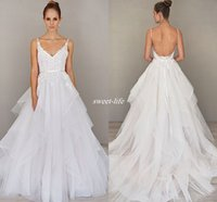 alvina valenta wedding - Glamorous Alvina Valenta Wedding Dresses Elegant Tiered Skirt Spaghetti Backless Summer Beach Wedding Gowns Cheap Bridal Dress Bohemia
