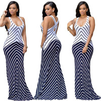 Wholesale Hot Summer New European And American Style Sexy Fashion Sleeveless Collision Color Stripe Behind Hollow Strap Dress B