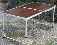 Wholesale Adjustable Portable Outdoor Folding Table Aluminium Alloy Beach Table Camping Barbecue Picnic Table With Umbrella Hole