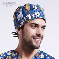 Wholesale Colourful doggige dog pattern printing Dome cap scrub hats women nurse short hair with comfortable and lovely cap